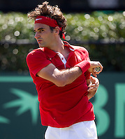 Roger Federer (SUI) against Bernard Tomic (AUS) in the Fourth Rubber. Roger Federer beat Bernard Tomic  6-2 7-5 3-6 6-3...Tennis - Davis Cup - World Group - Royal Sydney Golf Club - Sydney - Day 3 - Sunday September 18th 2011..© AMN Images, Barry House, 20-22 Worple Road, London, SW19 4DH, UK..+44 208 947 0100.www.amnimages.photoshelter.com.www.advantagemedianetwork.com.