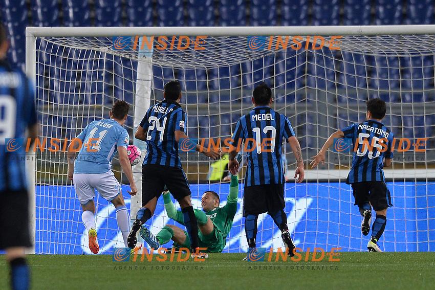 Gol di Miroslav Klose Lazio. Goal celebration.<br /> Roma 1-05-2016  Stadio Olimpico<br /> Campionato Serie A,<br /> Lazio - Inter.<br /> Foto Antonietta Baldassarre / Insidefoto