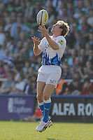 Nick Abendanon of Bath Rugby takes a catch during the Aviva Premiership match between Harlequins and Bath Rugby at The Twickenham Stoop on Saturday 24th March 2012 (Photo by Rob Munro)