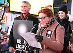 Brian Stokes Mitchell and Kate Mulgrew attend The Ghostlight Project to light a light and make a pledge to stand for and protect the values of inclusion, participation, and compassion for everyone - regardless of race, class, religion, country of origin, immigration status, (dis)ability, gender identity, or sexual orientation at The TKTS Stairs on January 19, 2017 in New York City.
