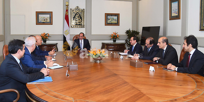 Egyptian President Abdel Fattah al-Sisi meets with CEO of Italian oil company Eni, Claudio Discalzi, Cairo, Egypt, on June 21, 2018. Photo by Egyptian President Office