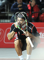 BOGOTA – COLOMBIA – 18-07-2014: Victor Estrella de Republica Dominicana, celebra despues de vencer a Richard Gasquet de Francia durante partido de cuartos de final del Open Claro Colombia de tenis ATP 250, que se realiza en las canchas del Centro de Alto Rendimiento en Altura en ciudad de Bogota. / Victor Estrella of Dominican Republic,  celebrates after defeating Richard Gasquet of France, during a match for the quarter of finals of the Open Claro Colombia de tenis ATP 250, at Centro de Alto Rendimiento en Altura in Bogota City. Photo: VizzorImage / Luis Ramirez / Staff.