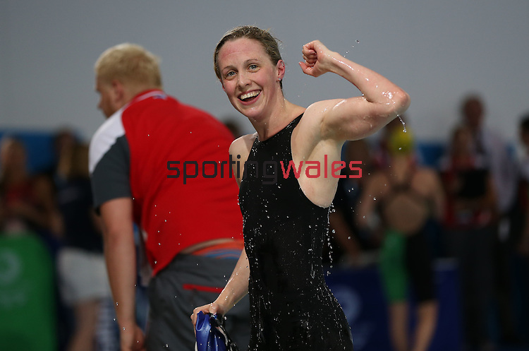 Glasgow 2014 Commonwealth Games<br /> Scotland's Hannah Miley celebrates winning gold in the Women's 400m Individual Medley.<br /> Tollcross Swimming Centre<br /> <br /> 24.07.14<br /> ©Steve Pope-SPORTINGWALES