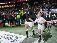Katy McLean and the mascot lead the rest of the team out, England Women v France Women in the 6 Nations at Twickenham Stadium, Twickenham, England, on 21st March 2015
