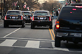 Limousines drive in the presidential inaugural parade through the nation's capital January 21, 2013 in Washington, DC. Barack Obama was re-elected for a second term as President of the United States.  .Credit: Chip Somodevilla / Pool via CNP