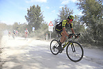 The peloton including Edoardo Affini (ITA) Mitchelton-Scott on sector 3 Radi during Strade Bianche 2019 running 184km from Siena to Siena, held over the white gravel roads of Tuscany, Italy. 9th March 2019.<br /> Picture: Eoin Clarke | Cyclefile<br /> <br /> <br /> All photos usage must carry mandatory copyright credit (© Cyclefile | Eoin Clarke)