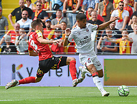 20190803 - LENS , FRANCE : Lens' Clement Michelin (L) and Guingamp's Ludovic Blas (R) pictured during the soccer match between Racing Club de LENS and En Avant Guingamp , on the second matchday in the French Dominos pizza Ligue 2 at the Stade Bollaert Delelis stadium , Lens . Saturday 3 th August 2019 . PHOTO DIRK VUYLSTEKE | SPORTPIX.BE