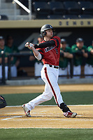 Zach Britton (34) of the Louisville Cardinals follows through on his swing against the Wake Forest Demon Deacons at David F. Couch Ballpark on March 17, 2018 in  Winston-Salem, North Carolina.  The Cardinals defeated the Demon Deacons 11-6.  (Brian Westerholt/Four Seam Images)