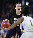 SIOUX FALLS, SD: MARCH 5: Lakota Beatty #11 of Oral Roberts looks past South Dakota State defender Alexis Alexander #1 during the Summit League Basketball Championship on March 5, 2017 at the Denny Sanford Premier Center in Sioux Falls, SD. (Photo by Dick Carlson/Inertia)