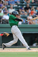 Shortstop Yeixon Ruiz (2) of the Savannah Sand Gnats bats in a game against the Greenville Drive on Friday, August 22, 2014, at Fluor Field at the West End in Greenville, South Carolina. Greenville won, 6-5. (Tom Priddy/Four Seam Images)