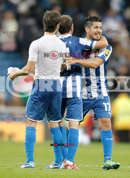 Espanyol's Juan Albin celebrates during La Liga match. December 16, 2012. (ALTERPHOTOS/Alvaro Hernandez)