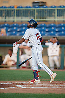 Mahoning Valley Scrappers George Valera (12) bats during a NY-Penn League game against the Hudson Valley Renegades on July 15, 2019 at Eastwood Field in Niles, Ohio.  Mahoning Valley defeated Hudson Valley 6-5.  (Mike Janes/Four Seam Images)