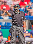 5 March 2013: MLB umpire Gary Cederstrom signals during a Spring Training game between the Houston Astros and the Washington Nationals at Space Coast Stadium in Viera, Florida. The Nationals defeated the Astros 7-1 in Grapefruit League play. Mandatory Credit: Ed Wolfstein Photo *** RAW (NEF) Image File Available ***
