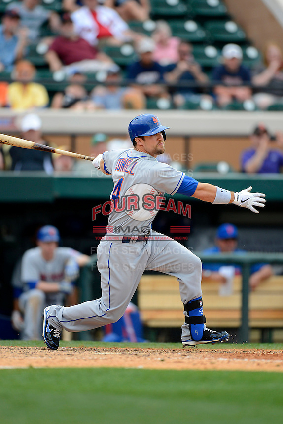 New York Mets outfielder Collin Cowgil #4 during a Spring Training game against the Detroit Tigers at Joker Marchant Stadium on March 11, 2013 in Lakeland, Florida.  New York defeated Detroit 11-0.  (Mike Janes/Four Seam Images)