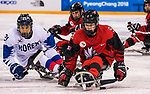 PyeongChang 15/3/2018 - Corbyn Smith (#9), of Monkton, ON,  in action as Canada takes on Korea in semifinal hockey action at the Gangneung Hockey Centre during the 2018 Winter Paralympic Games in Pyeongchang, Korea. Photo: Dave Holland/Canadian Paralympic Committee