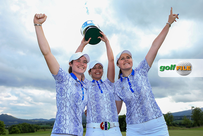 Victorious Irish players Leona Maguire, Maria Dunne and Olivia Mehaffey with the 2016 Curtis Cup, played at Dun Laoghaire GC, Enniskerry, Co Wicklow, Ireland. 12/06/2016. Picture: David Lloyd | Golffile. <br /> <br /> All photo usage must display a mandatory copyright credit to &copy; Golffile | David Lloyd.