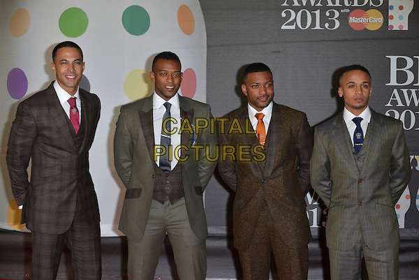 JLS - Marvin Hulmes, Oritse Williams, Jonathan J.B. Gill, Aston Merrygold.The Brit Awards 2013 arrivals at the O2, Greenwich, London, England 20th February 2013.The Brits half length brown suit plaid checked tie orange band group striped grey gray .CAP/PL.©Phil Loftus/Capital Pictures.