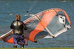 Man Holding a Windsurfing Kite