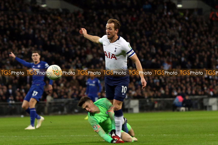 Harry Kane of Tottenham Hotspur is brought down by Kepa Arrizabalaga of Chelsea for a penalty during Tottenham Hotspur vs Chelsea, Caraboa Cup Football at Wembley Stadium on 8th January 2019