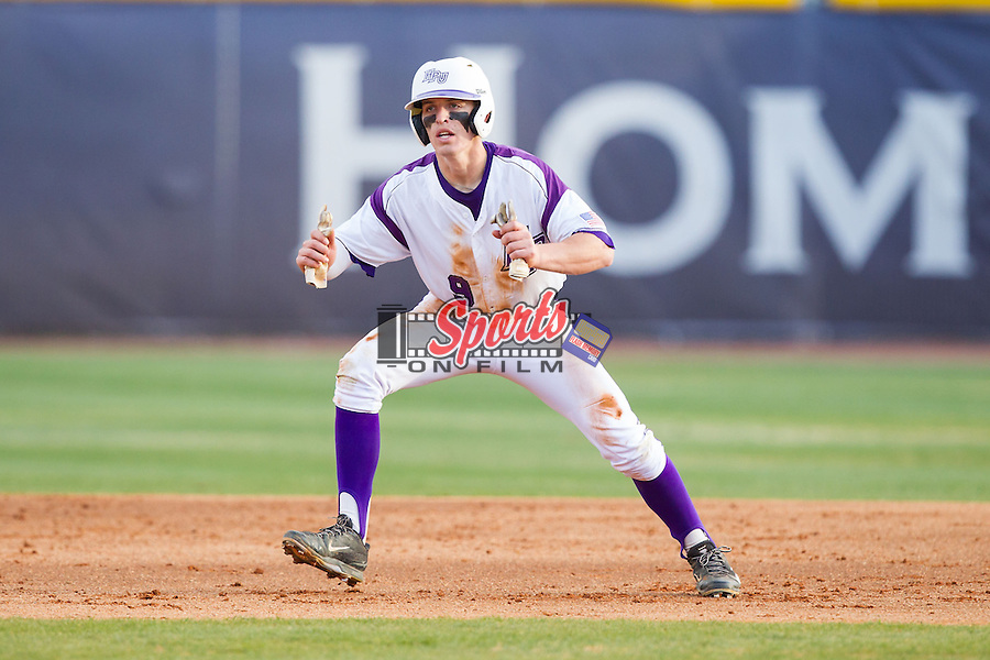 Chris Clare (9) of the High Point Panthers takes his lead off of second base against the Coastal Carolina Chanticleers at Willard Stadium on March 14, 2014 in High Point, North Carolina.  The Panthers defeated the Chanticleers 3-0.  (Brian Westerholt/Sports On Film)