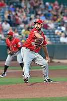 Albuquerque Isotopes starting pitcher Harrison Musgrave (40) delivers a pitch to the plate against the Salt Lake Bees in Pacific Coast League action at Smith's Ballpark on August 30, 2016 in Salt Lake City, Utah. The Bees defeated the Isotopes 3-2. (Stephen Smith/Four Seam Images)