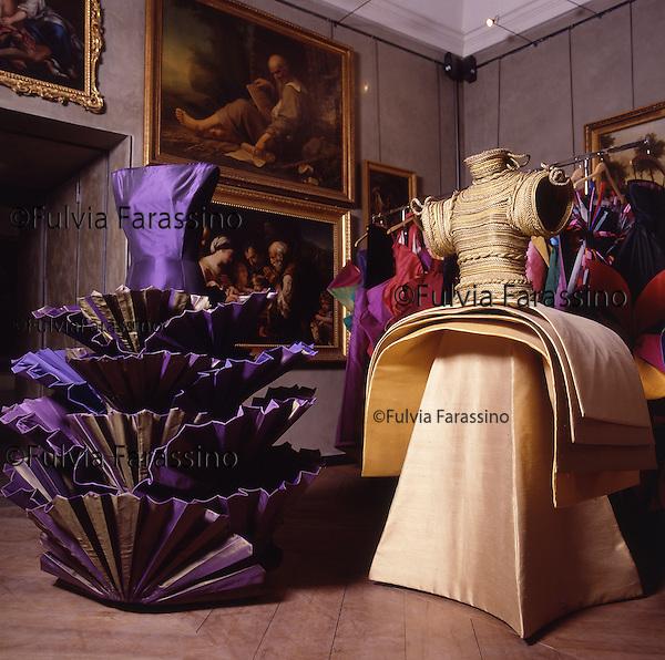 Parma,Palazzo della Pilotta,gli abiti scultura di Roberto Capucci,  sculpture dresses by Roberto Capucci