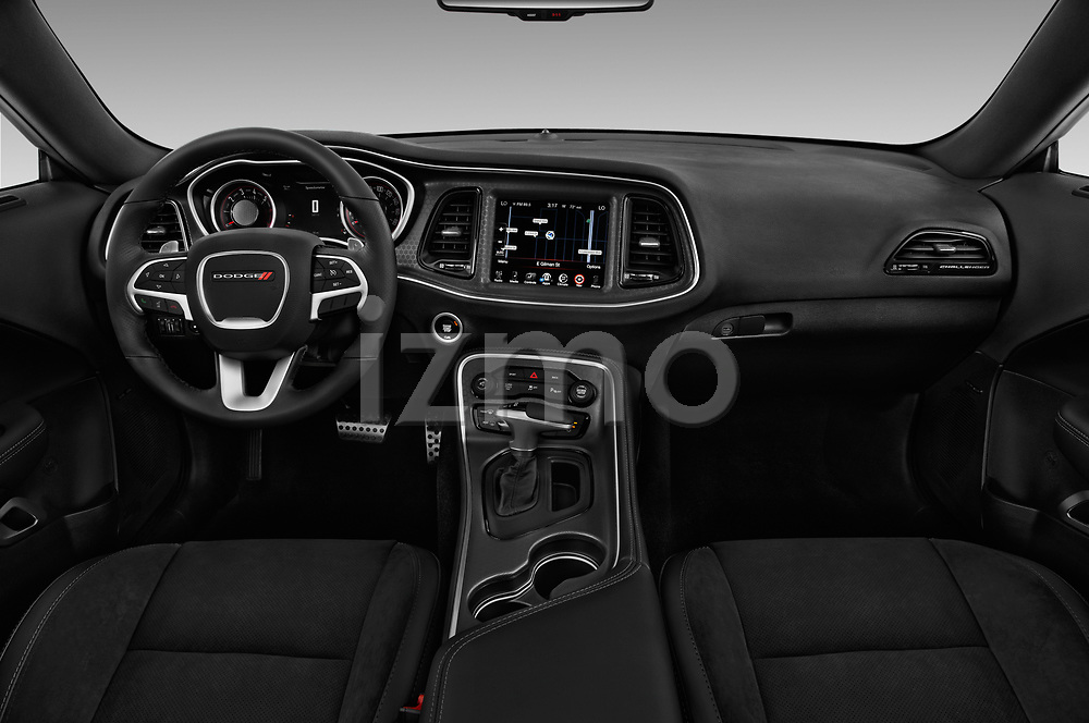 Stock photo of straight dashboard view of 2016 Dodge Challenger Scat-Pack 2 Door Coupe Dashboard