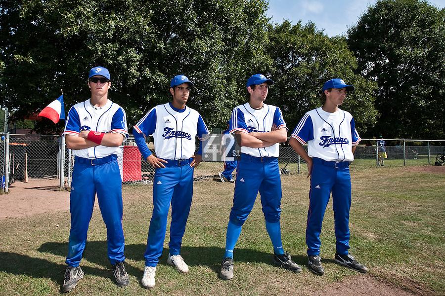 Baseball - 2009 European Championship Juniors (under 18 years old) - Bonn (Germany) - 06/08/2009 - Day 4 - Warren Coopman, Christopher Morel, Thomas Gicquel, Sebastien Neumann (France)
