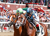 Scenes from Saratoga Race Course.  Hazit (no. 2) wins race number one on  Travers Day.  Ridden by John Velazquez and trained by Todd Pletcher.