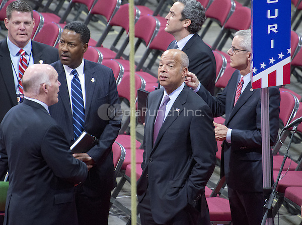 United States Secretary of Homeland Security Jeh Johnson tours the Quicken Loans Arena to observe the build-out prior to the 2016 Republican National Convention in Cleveland, Ohio on Friday, July 15, 2016.<br /> Credit: Ron Sachs / CNP/MediaPunch<br /> (RESTRICTION: NO New York or New Jersey Newspapers or newspapers within a 75 mile radius of New York City)