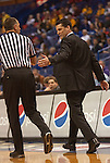 March 5,  2010               Northern Iowa head coach Ben Jacobson argues a call by the referee in the first half.  The University of Northern Iowa Panthers played the Drake University Bulldogs in Game 3 of the Missouri Valley Conference Tournament at the Scottrade Center in downtown St. Louis, MIssouri on Friday March 5, 2010.  The Bulldogs advanced to play the Panthers on the second day of competition after defeatiing the Southern Illinois University-Carbondale Salukis in Game 1.