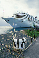 cruise ship, Bermuda, The West End, Sandy's Parish, Royal Princess docked at the Cruise Ship Terminal at the Royal Naval Dockyard at the end of Ireland Island in Sandy's Parish in Bermuda.