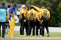 Wellington players celebrate wicket during the Wellington Firebirds v Otago Volts, Ford Trophy One Day match round five at Bert Sutcliffe Oval in Lincoln, New Zealand on Friday, 29 November 2019. Photo: Martin Hunter / lintottphoto.co.nz