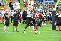 Wednesday, July 27, 2016: New England Patriots cornerback Logan Ryan (26) tries to disrupt the catch by New Orleans Saints wide receiver Jared Dangerfield (85) at a joint training camp practice between New England Patriots and  the New Orleans Saints  training camp held Gillette Stadium in Foxborough Massachusetts. Eric Canha/CSM