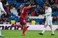 Real Madrid Mateo Kovacic and CD Numancia Guillermo Fernandez celebrating a goal during King's Cup match between Real Madrid and CD Numancia at Santiago Bernabeu Stadium in Madrid, Spain. January 10, 2018. (ALTERPHOTOS/Borja B.Hojas) /NortePhoto.com NORTEPHOTOMEXICO