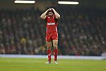 Wales fullback Leigh Halfpenny.<br /> 2015 RBS 6 Nations<br /> Wales v England<br /> Millennium Stadium <br /> 06.02.15<br /> ©Steve Pope -SPORTINGWALES