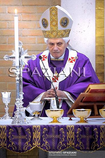 Pope Benedict XVI  during pastoral visit to the San Giovanni della Croce Parish in Rome on March 7, 2010