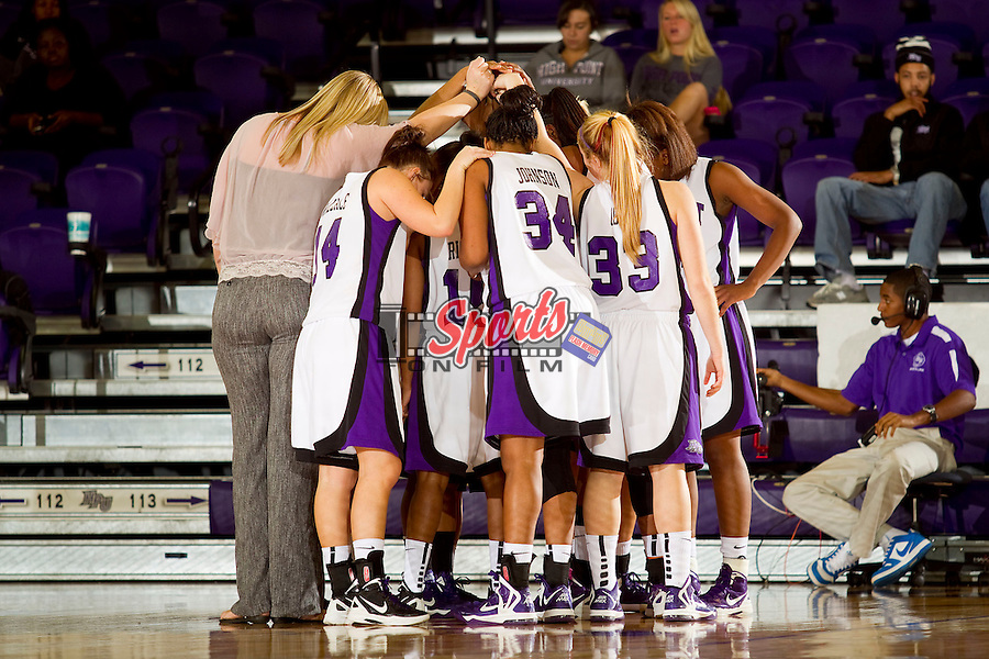 The High Point Panthers huddle up at the start of the second half against the East Tennessee State Buccaneers at Millis Athletic Center on November 10, 2012 in High Point, North Carolina.  The Panthers defeated the Buccaneers 85-76.   (Brian Westerholt/Sports On Film)