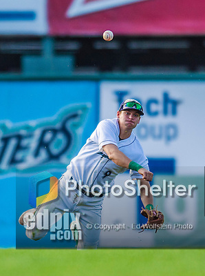 1 September 2013: Vermont Lake Monsters infielder Chad Pinder makes a play from his knees during game action against the Connecticut Tigers at Centennial Field in Burlington, Vermont. The Lake Monsters fell to the Tigers 6-4 in 10 innings of NY Penn League action. Mandatory Credit: Ed Wolfstein Photo *** RAW Image File Available ****