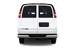 Straight rear view of 2016 Chevrolet Express 3500-LS 4 Door Passenger Van Rear View  stock images