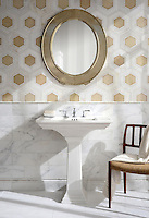 Ruche, a stone waterjet mosaic, shown in polished Calacatta, polished Thassos, and Cream Onyx.
