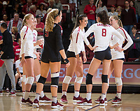 Stanford, CA - October 11, 2019: Kate Formico, Caitlin Keefe, Morgan Hentz, McKenna Vicini, Michaela Keefe, Jenna Gray at Maples Pavilion. The Stanford Cardinal swept the Arizona Wildcats 3-0.