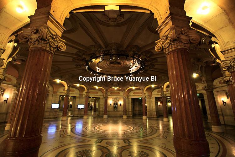 Inside of entry hall of Opera Garnier. Palais Garnier. City of Paris. Paris