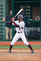 Ricky Surum (2) of the Virginia Tech Hokies at bat against the Toledo Rockets at The Ripken Experience on February 28, 2015 in Myrtle Beach, South Carolina.  The Hokies defeated the Rockets 1-0 in 10 innings.  (Brian Westerholt/Four Seam Images)