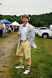 USA, Tennessee, Nashville, Iroquois Steeplechase, a local man poses for a portrait in the morning before the races begin