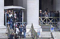 Checks with metal detectors at the entrance in  St Peter's square at the Vatican.Pope Francis during of the Palm Sunday celebration on St Peter's square at the Vatican.April 24,2018