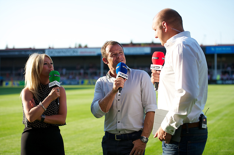 20130801 Copyright onEdition 2013 ©<br />Free for editorial use image, please credit: onEdition.<br /><br />BT Sport presenters (L-R) Sarra Elgin Easterby, Austin Healey and Ben Kay before the J.P. Morgan Asset Management Premiership Rugby 7s Series.<br /><br />The J.P. Morgan Asset Management Premiership Rugby 7s Series kicks off for the fourth season on Thursday 1st August with Pool A at Kingsholm, Gloucester with Pool B being played at Franklin's Gardens, Northampton on Friday 2nd August, Pool C at Allianz Park, Saracens home ground, on Saturday 3rd August and the Final being played at The Recreation Ground, Bath on Friday 9th August. The innovative tournament, which involves all 12 Premiership Rugby clubs, offers a fantastic platform for some of the country's finest young athletes to be exposed to the excitement, pressures and skills required to compete at an elite level.<br /><br />The 12 Premiership Rugby clubs are divided into three groups for the tournament, with the winner and runner up of each regional event going through to the Final. There are six games each evening, with each match consisting of two 7 minute halves with a 2 minute break at half time.<br /><br />For additional images please go to: http://www.w-w-i.com/jp_morgan_premiership_sevens/<br /><br />For press contacts contact: Beth Begg at brandRapport on D: +44 (0)20 7932 5813 M: +44 (0)7900 88231 E: BBegg@brand-rapport.com<br /><br />If you require a higher resolution image or you have any other onEdition photographic enquiries, please contact onEdition on 0845 900 2 900 or email info@onEdition.com<br />This image is copyright the onEdition 2013©.<br /><br />This image has been supplied by onEdition and must be credited onEdition. The author is asserting his full Moral rights in relation to the publication of this image. Rights for onward transmission of any image or file is not granted or implied. Changing or deleting Copyright information is illegal as specified in the Copyright, Design and 