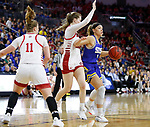 SIOUX FALLS, SD - MARCH 10: Rylie Cascio Jensen #2 of the South Dakota State Jackrabbits drives into the lane against Chloe Lamb #22 of the South Dakota Coyotes during the women's championship game at the 2020 Summit League Basketball Tournament in Sioux Falls, SD. (Photo by Richard Carlson/Inertia)