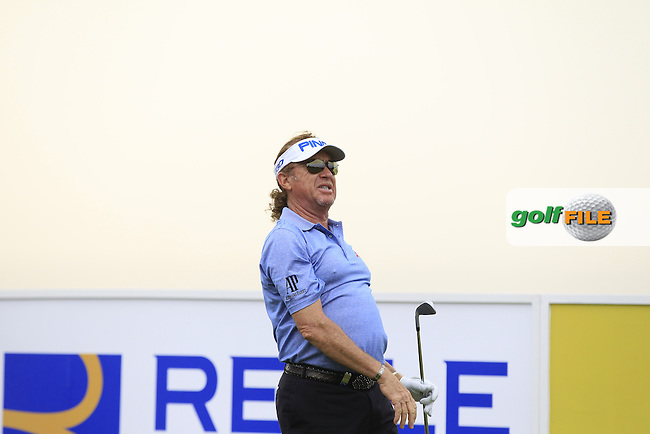 Miguel Angel Jimenez (ESP) on the 13th tee during Round 1 of the Open de Espana  in Club de Golf el Prat, Barcelona on Thursday 14th May 2015.<br /> Picture:  Thos Caffrey / www.golffile.ie