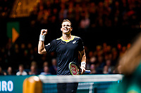 Rotterdam, The Netherlands, 12 Februari 2020, ABNAMRO World Tennis Tournament, Ahoy. Vasek Pospisil (CAN) celebrates his win.<br /> Photo: www.tennisimages.com